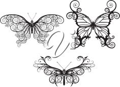 Stylized Clipart Image of 3 Butterflies