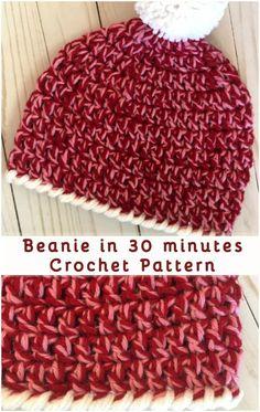 Crochet Beanie Ideas Beanie in 30 minutes – Free Crochet Pattern Crochet Stocking, Easy Crochet Hat, Crochet Kids Hats, Crochet Beanie Pattern, Crochet Crafts, Free Crochet, Knit Crochet, Crochet Patterns, Crochet Baby Beanie