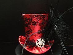 Red Black Flower Brocade Satin Mad Hatter Mini by daisyleedesign, $29.95