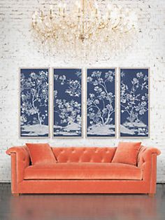Fabulous Natural Curiosities Blue and White Chinoiserie prints with a persimmon velvet sofa from Natural Curiosities