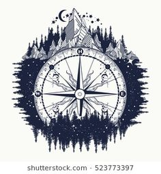 Mountain antique compass and wind rose tattoo art. Adventure, travel, outdoors, … Mountain antique compass and wind rose tattoo art. Rose Tattoos, New Tattoos, Body Art Tattoos, Sleeve Tattoos, Tatoos, Kunst Tattoos, Tattoo Drawings, I Tattoo, Tattoo Stars