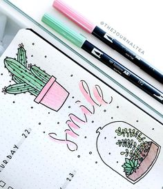 A close up on amazing bullet journal illustrations by insta @thejournaltea. Check her amazing feed out!
