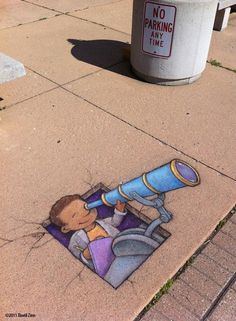 Chalk Street Art – 30 adorable creations by David Zinn - Ego - AlterEgo 3d Street Art, Urban Street Art, Amazing Street Art, Street Art Graffiti, Street Artists, Urban Art, Graffiti Bridge, Street Mural, David Zinn