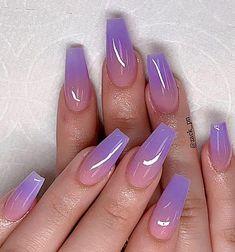 Nail Art Designs, Short Nail Designs, Nail Polish Designs, Acrylic Nail Designs, Purple Acrylic Nails, Best Acrylic Nails, Purple Nails, Pink Purple, Ombre Nail