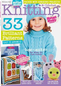 Knitting & crochet from woman's weekly february 2016 Baby Knitting Books, Crochet Books, Knit Or Crochet, Knitting Stitches, Free Crochet, Knitting Patterns, Crochet Patterns, Knitting Magazine, Crochet Magazine