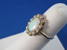 Elegant Opal and Pearl Victorian Antique Ring
