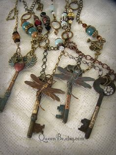 Altered Bee Necklace Altered Skeleton Key Necklace by QueenBe