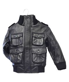 Look at this Tanners Avenue Black Leather Military Bomber Jacket - Toddler, Girls & Boys on #zulily today!