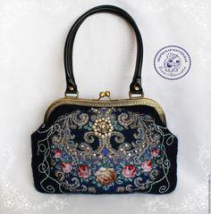 Купить Cумка Тайна сердца валяная из шерсти с платком - тёмно-синий, цветочный, сумка валяная