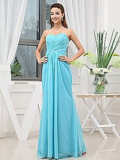 Strapless Draped Chiffon Bridesmaid Dress'