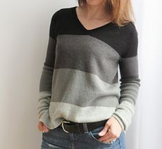 Jen by Josee Paquin. In fingering wt. at 24sts/4in.  Sleeve length options. $6
