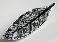 Feather Wearable Shrink-Plastic Art Brooch - Black and White £5.00
