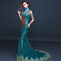 Em Uma Perda Verde Vestido De Noite Longo Turquesa Vestidos de Casamento Chinês Vestido Bordado de Lantejoulas Backless Fishtail Cheongsam Qipao M