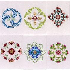 Value Pack No. 27: Bead Medallions in Flowers patterns at Stitching Cards - ePatterns for paper embroidery