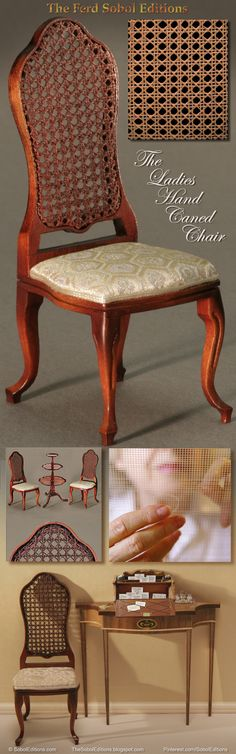 The Ladies Hand Caned Chair by The Ferd Sobol Editions is beautifully petite making it an ideal piece for the room where space is at a premium. The hand caning is a design element that is exceedingly rare in miniatures and Ferd is world renowned for it in 1/12th scale. Add this chair to any room or roombox and the skill of the maker will prove to be an everlasting joy. www.SobolEditions.com www.TheSobolEditions.blogspot.com
