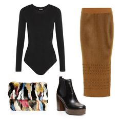 How to wear the knit pencil skirt: stretch bodysuit, platform black booties, and a furry statement clutch