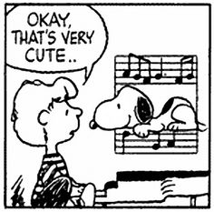 """Peanuts & Chicago lyrics mash-up. Schroeder & Snoopy and """"What's This World Comin' To?"""" lyrics from Chicago VI. by mpr Music Jokes, Music Humor, Peanuts Cartoon, Peanuts Snoopy, Peanuts Comics, Schroeder Peanuts, Katt Williams, Blunt Cards, Anne Taintor"""