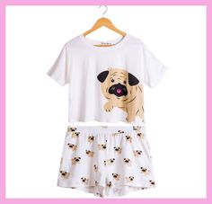 76c4ca8d1372 Cute Dog Pajama Set Women Pug Print 2 Pieces Set Crop Top + Shorts Elastic  Waist