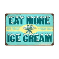 Ice Cream Retro Planet advertising metal sign, vintage style Diner Cafe Signs, home decor wall art, Shoe Storage Small, Ice Cream Delivery, Retro Signage, Diner Decor, Ice Cream Man, Cafe Sign, Vintage Metal Signs, Metal Tins, Kitchen Art