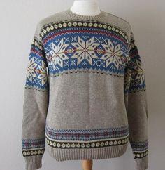 7e45a2a5 RALPH LAUREN mens brown nordic snowflake cotton Fair Isle pullover ski  sweater N