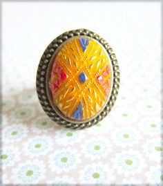 Ring Exotic Ring Moroccan Gold Yellow Canary Persian Blue Red Vintage Glass Cab Ring Folk Ring - Le Cirque, The Circus LAST 1