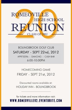 A personal favorite from my etsy shop httpsetsylisting eventbrite rhs class of reunion committee presents 20 year reunion romeoville high school class of saturday september 2012 at bolingbrook golf club stopboris