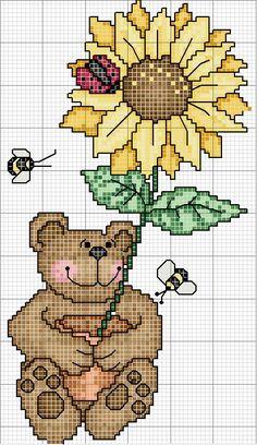 Schema punto croce Orso Con Girasole