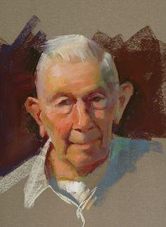 Bud at Ninety Two by William Schneider Pastel ~ 16 x 14