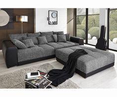 DELIFE Big-Sofa Valeska 310x135 Schwarz mit Hocker und Kissen, Big Sofas 9884-9370-0