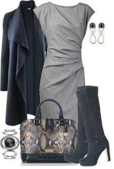 """""""Cardigan, Dress and Boots"""" by averbeek on Popmiss (love the shape of the dress & the coat)"""