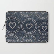 Cool Blue Denim Silver Hearts Pattern Laptop Sleeve