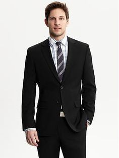Tailored black Italian wool two-button suit blazer | Banana Republic....Suit for Chad??