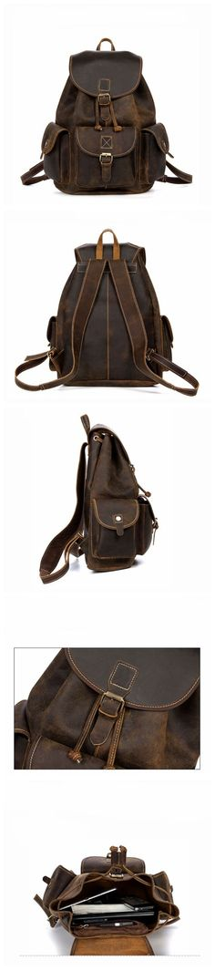 Antique Crazy Horse Leather Backpack For Camping Carry On Luggage Hiking Backpack