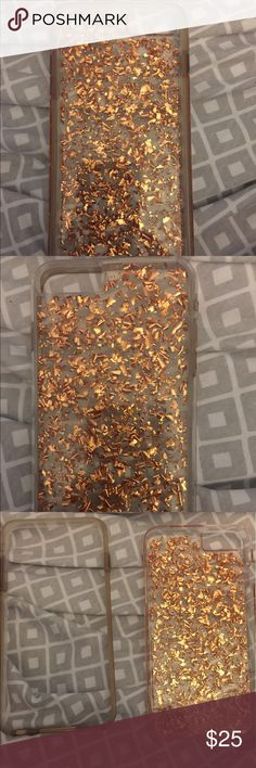 Iphone 6 plus gold glitter case Iphone 6 plus gold glitter case comes with bumper in great condition! Accessories Phone Cases