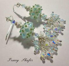 Handmade Artisan Glasswork Beads by Tom Gronwall, Vintage Swarovski in Alabaster & Lt. Azore AB Sterling Silver findings & Earwires.
