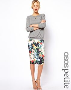 cute print =- wear silk shirt - or with simple tshirt and blazer or leather ASOS PETITE Exclusive Pencil Skirt In Floral Print
