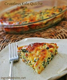 Crustless Kale Quiche - Added orange pepper, one egg, and one egg white.  cooked 40 minutes.  YUMMY!!