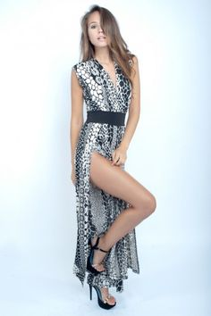 Animal Print Deep Front Leg Maxi Dress - Clothes | Maria Morena Wholesale