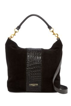 """Liebeskind Berlin Fenja Snake Embossed Leather Hobo $149.97 $298.00 50% Off Style #FENJAREPTIL Color BLACK - Detachable rolled top handle w/ detachable, adjustable shoulder strap - Zip top closure - Reptile embossed leather & suede construction - Exterior features dual front zip pockets - Interior features zip wall pocket, slip wall pocket & 2 media pockets - Approx. 13.25"""" H x 15"""" W x 3 3/8"""" D - Approx. 5.25"""" handle drop, 19-23"""" strap drop - Imported Materials: Leather exterior, textile…"""