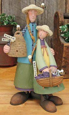 Mom and Daughter Gardener Figurine – Everyday Folk Art Figurines & Collectibles – Williraye Studio $23.75