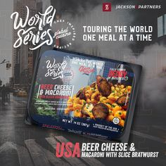 World Series RTE Meals; Globally Inspired. Grab your passport, pack your bags, & travel the world with Jackson & Partners one country at a time. Every new discovery enriches our lives & we are excited to introduce you to our new line of ready-to-eat meals from the United States. #readytoeatmeals #worldseriesglobalcuisines #jacksonandpartners #worldseriesglobaltour Burger Recipes, Pork Recipes, Seafood Recipes, World Chef, Eat Meals, Steak Rubs, Homemade Burgers, Beer Cheese, Bratwurst