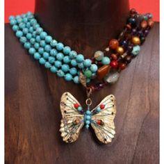Collar de Mariposa Luma Joyas con Turquesas y Piedras Semipreciosas Multicolor C053 A2