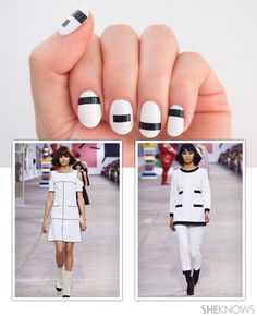 How-to: Fashion nails inspired by Chanel. Black and white nails. White nails with black stripes.