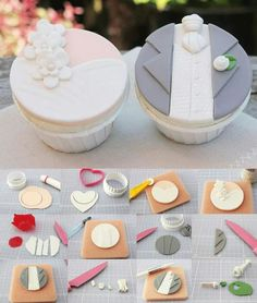 ideas cupcakes decoration wedding fondant for 2019 Fondant Cupcakes, Fondant Toppers, Cake Decorating Tutorials, Cookie Decorating, Fondant Tutorial, Cupcake Tutorial, Fondant Tips, Cake Business, Wedding Cookies