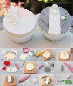 Cup cakes novios