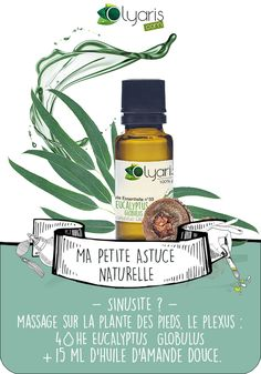 Sinusite encombrante ? L'Huile Essentielle d'Eucalyptus Globulus va largement réduire les symptômes pour un retour à une respiration saine. Découvrez cette huile par Olyaris, ici ! #Olyaris #HuileEssentielle #Eucalyptus #EucalyptusGlobulus #Aromatherapie #Usage #Guide #Utilisation #Bienfaits #Utilisation #RemedeNaturel #RemedeDeGrandMere #HuilesEssentielles #Sinusite #ORL #Infections #Virus #Bacterie Naturopathy, Take Care Of Me, Green Life, Natural Healing, Better Life, Home Remedies, Aromatherapy, Beauty Makeup, Health Care