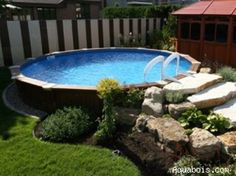 Fabulous landscaping around an above ground pool. @ Home Design Ideas by Lee Ann Swift