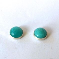 8 mm silver stud earring featuring turquoise coloured amazonite stones. Also available in moonstone, amber, moss agate and carnelian. Moss Agate, Turquoise Color, Carnelian, Metal Working, Stud Earrings, Amber, Silver, Handmade, Stones