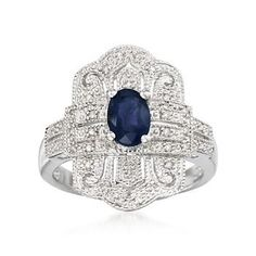 .90 Carat Sapphire and .10 ct. t.w. Diamond Ring In Sterling Silver