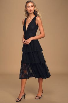 Chic Black Lace Dress - Floral Lace Midi Dress - Tiered Ruffle Casual Dresses For Teens, Cute Dresses, Women's Dresses, Black Tank Dress, Lace Midi Dress, Midi Skirt, Lace Ruffle, Online Dress Shopping, Poses